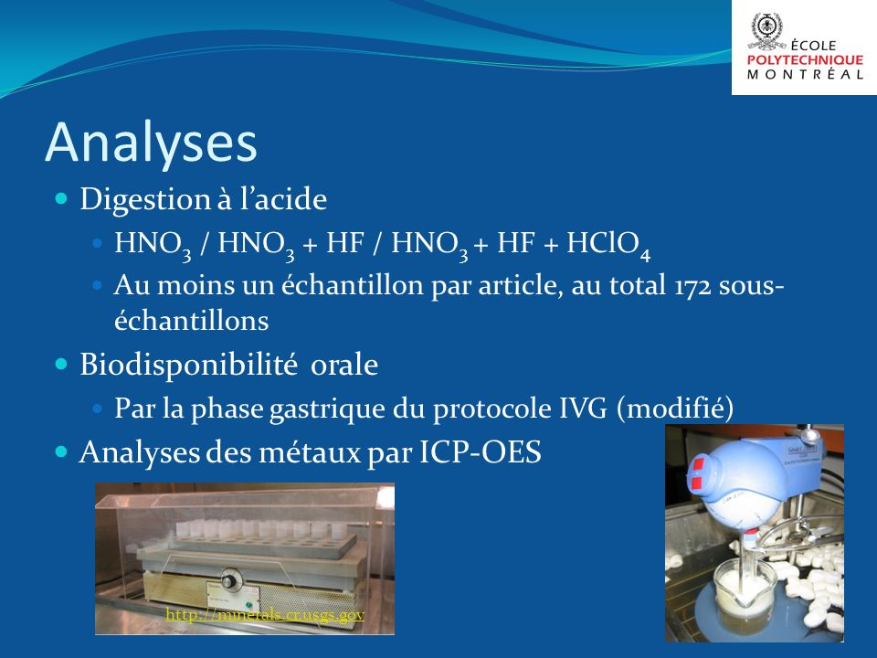 Analyses Digestion à lacide HNO 3 / HNO 3 + HF / HNO 3 + HF + HClO 4 Au moins un échantillon par article, au total 172 sous- échantillons Biodisponibi