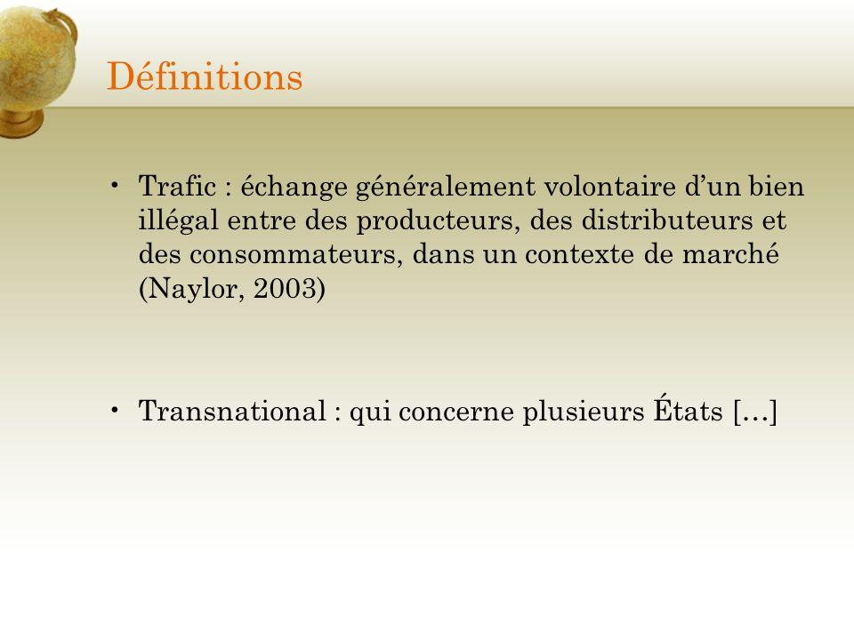 Définitions Trafic : échange généralement volontaire dun bien illégal entre des producteurs, des distributeurs et des consommateurs, dans un contexte