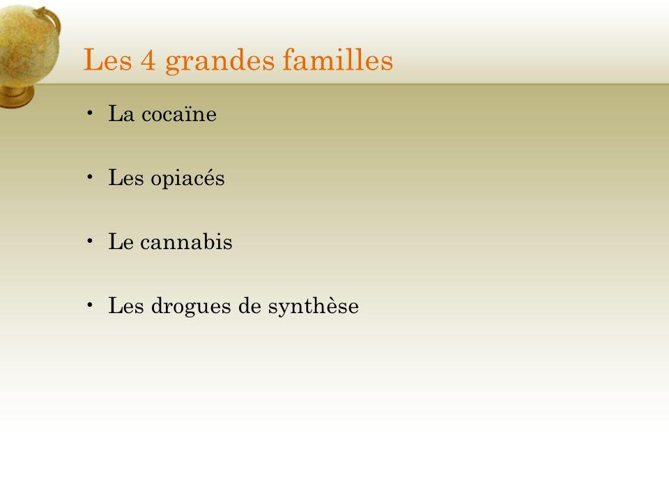 Les 4 grandes familles La cocaïne Les opiacés Le cannabis Les drogues de synthèse