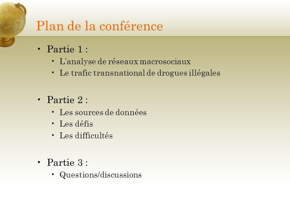 Plan de la conférence Partie 1 : Lanalyse de réseaux macrosociaux Le trafic transnational de drogues illégales Partie 2 : Les sources de données Les d