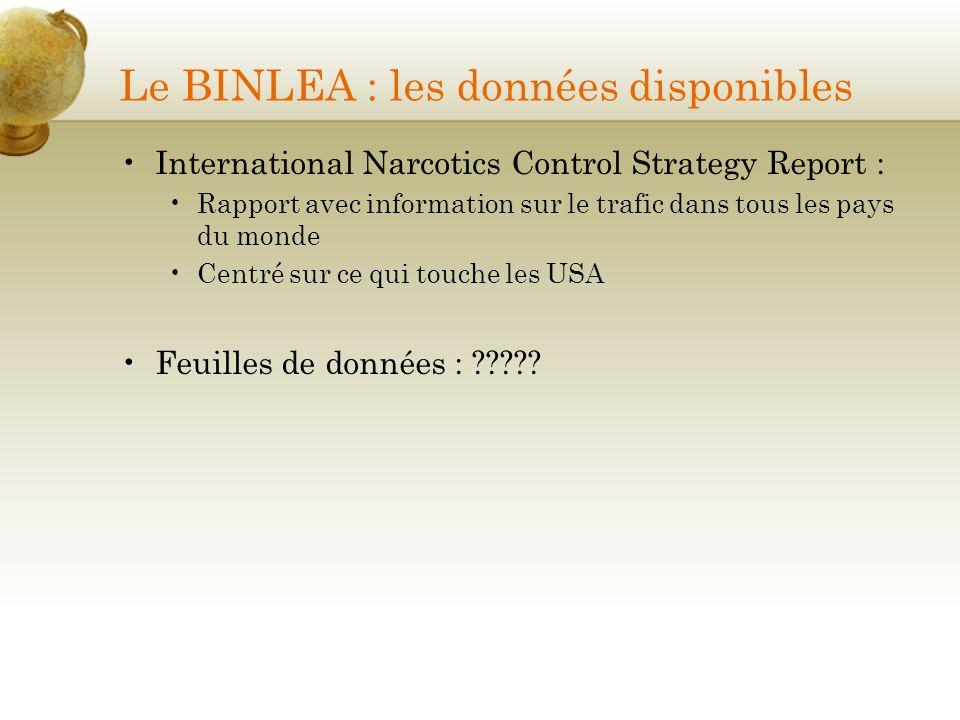 Le BINLEA : les données disponibles International Narcotics Control Strategy Report : Rapport avec information sur le trafic dans tous les pays du mon