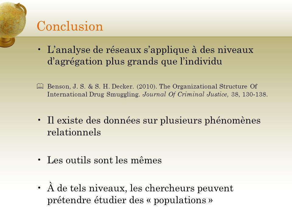 Conclusion Lanalyse de réseaux sapplique à des niveaux dagrégation plus grands que lindividu Benson, J. S. & S. H. Decker. (2010). The Organizational