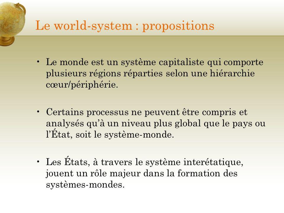 Le world-system : propositions Le monde est un système capitaliste qui comporte plusieurs régions réparties selon une hiérarchie cœur/périphérie. Cert
