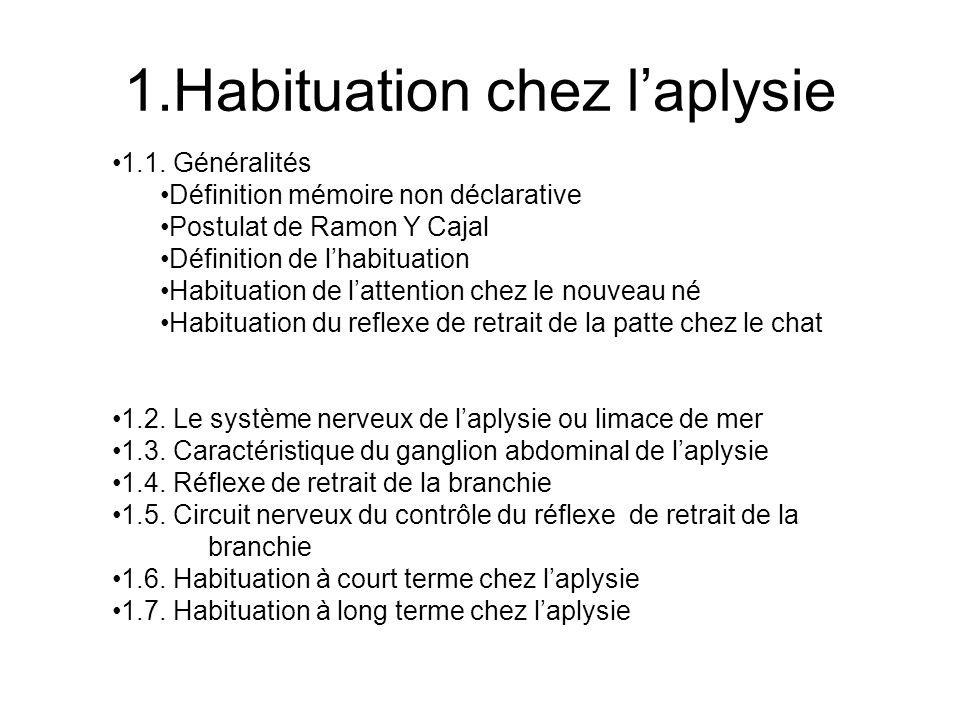 1.Habituation chez laplysie 1.1. Généralités Définition mémoire non déclarative Postulat de Ramon Y Cajal Définition de lhabituation Habituation de la