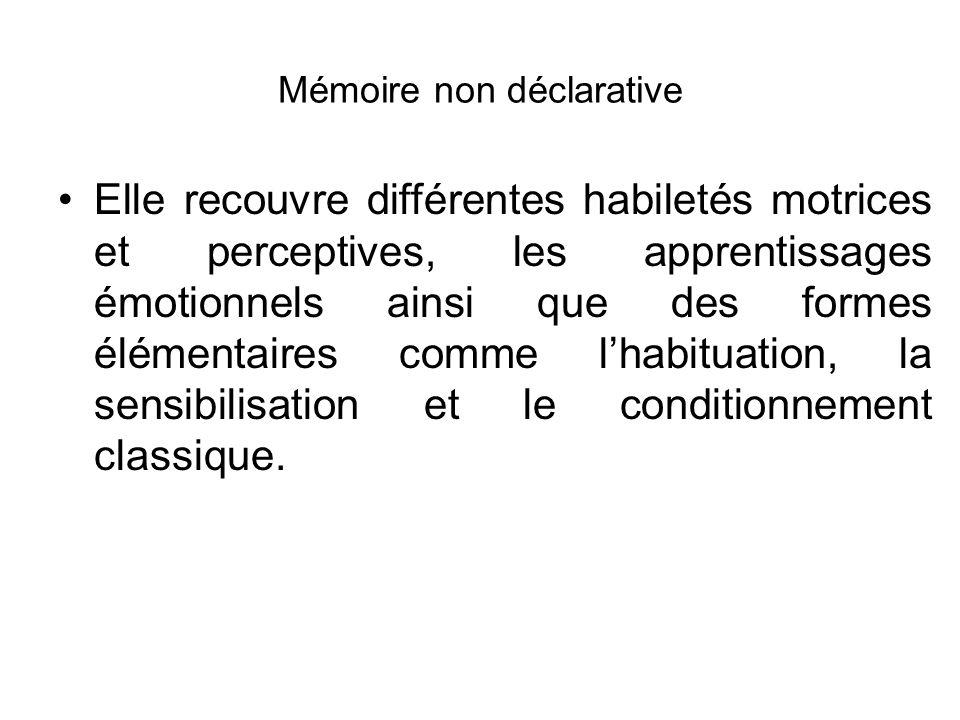 Mémoire non déclarative Elle recouvre différentes habiletés motrices et perceptives, les apprentissages émotionnels ainsi que des formes élémentaires