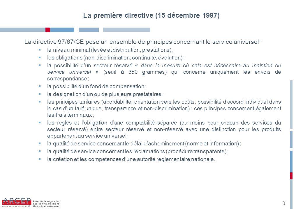 La deuxième directive (10 juin 2002) Cette directive précise les étapes à louverture totale du marché postal : concernant le marché du courrier transfrontière, il est totalement ouvert à partir du 1er janvier 2003 ; concernant le marché intérieur, le seuil du secteur réservé est abaissé à 100 g au 1er janvier 2003 et à 50 g au 1er janvier 2006.