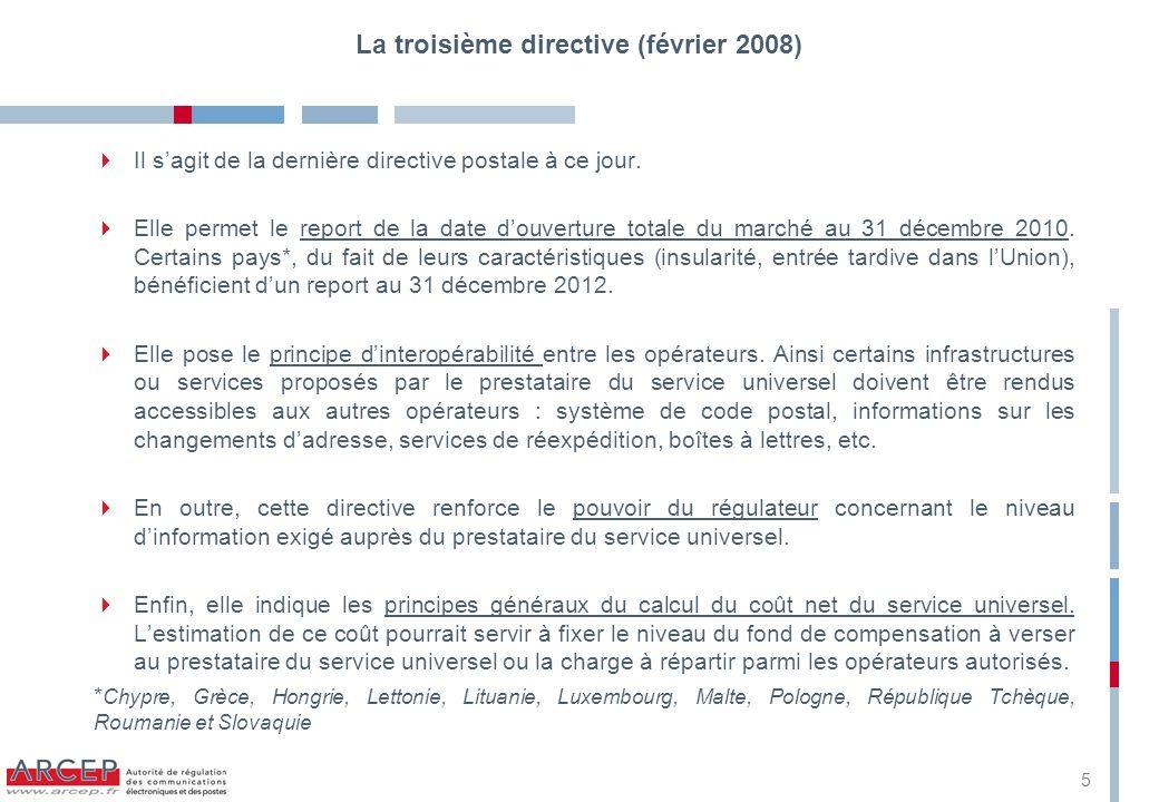 Annexe 1 : le calendrier 1997Première directive postale (97/67/EC) 1999Première réduction du « secteur réservé » 2002Deuxième directive postale (2002/39/EC) 2003Deuxième réduction du « secteur réservé » 2006Troisième réduction du « secteur réservé » 2008Troisième directive postale (2008/06/CE) 2010Ouverture totale du marché pour 16 États membres, représentant 95 % du marché intérieur des services postaux Décision de la commission instituant le groupe des régulateurs européens dans le domaine des services postaux (GREP) 2012Ouverture totale du marché pour les États membres ayant eu recours à la période de transition 6