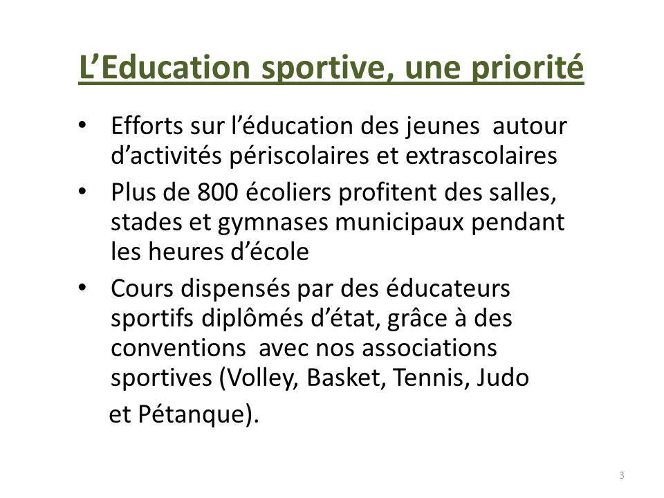 LEducation sportive, une priorité Efforts sur léducation des jeunes autour dactivités périscolaires et extrascolaires Plus de 800 écoliers profitent d
