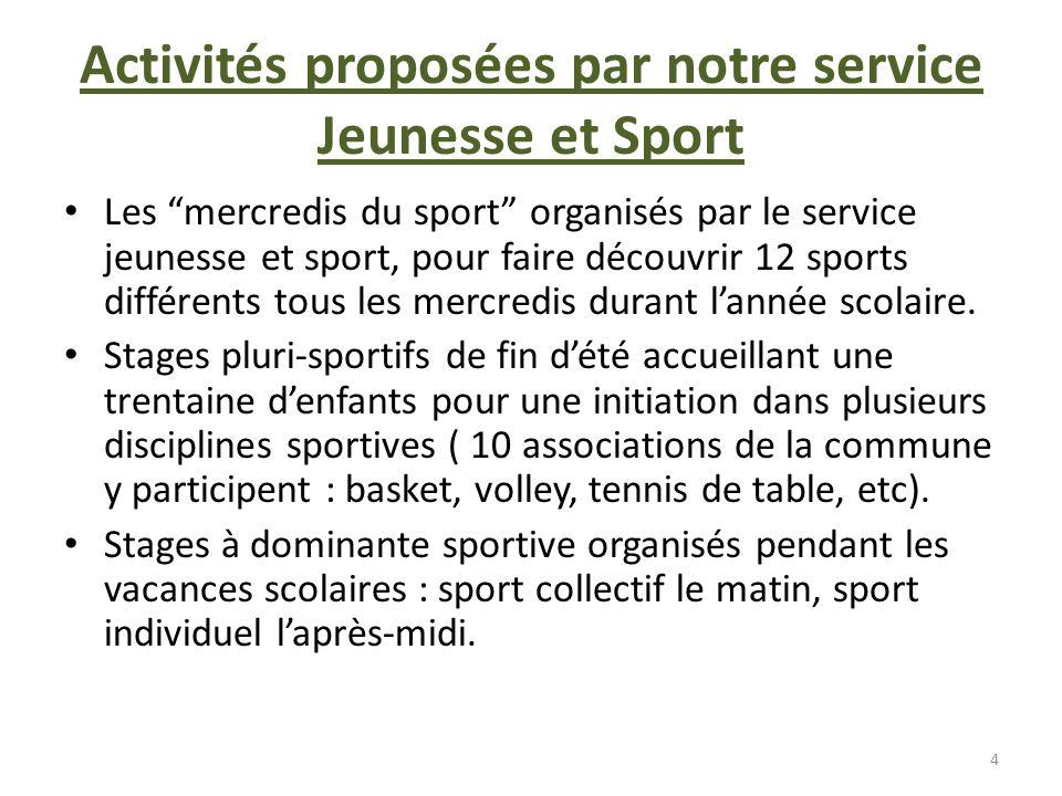 Activités proposées par notre service Jeunesse et Sport Les mercredis du sport organisés par le service jeunesse et sport, pour faire découvrir 12 spo