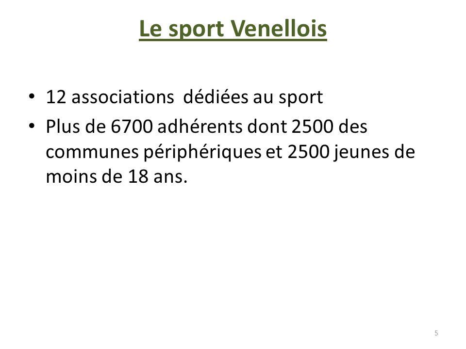 Le sport Venellois 12 associations dédiées au sport Plus de 6700 adhérents dont 2500 des communes périphériques et 2500 jeunes de moins de 18 ans. 5