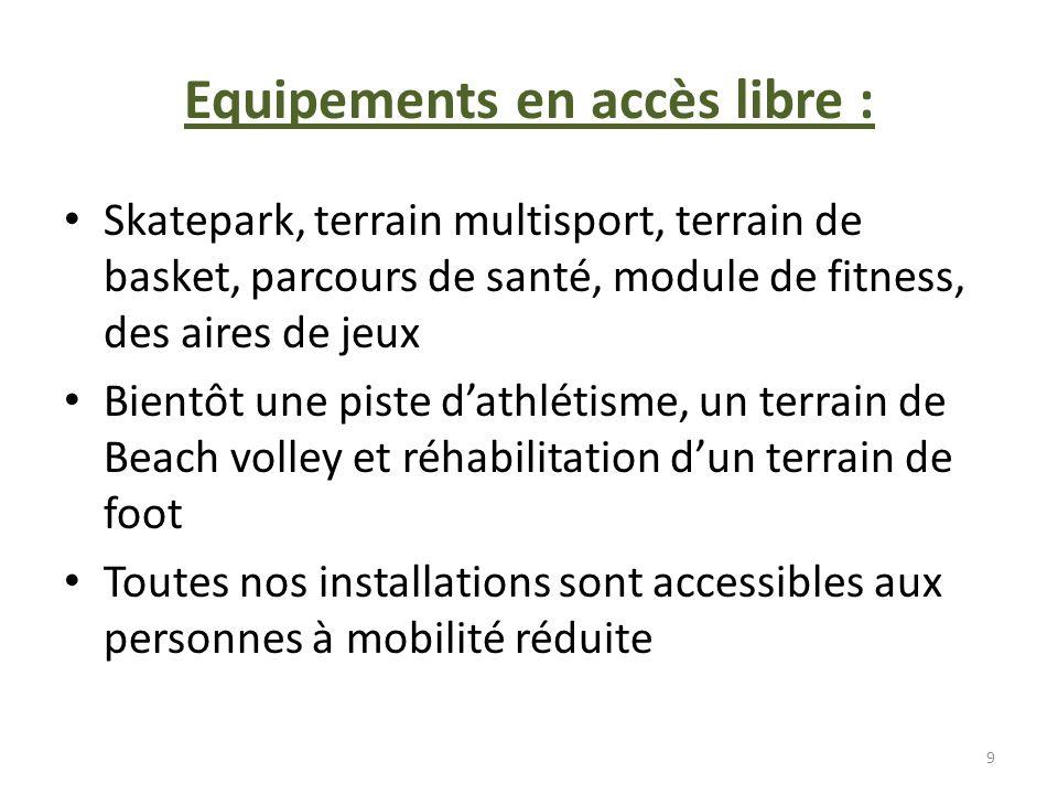 Equipements en accès libre : Skatepark, terrain multisport, terrain de basket, parcours de santé, module de fitness, des aires de jeux Bientôt une pis