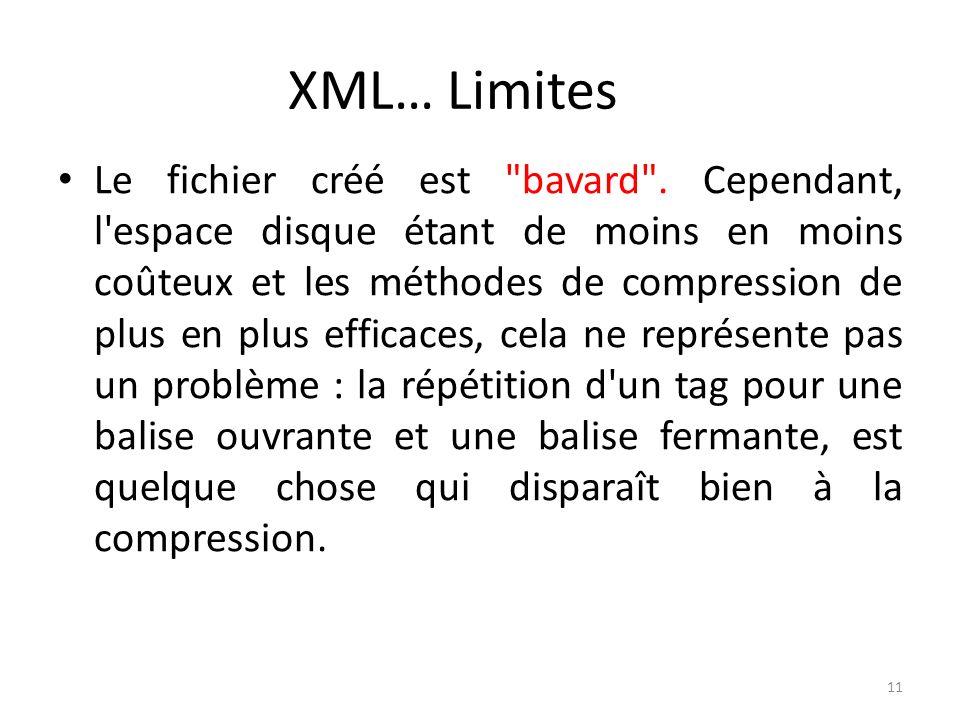 XML… Limites Le fichier créé est