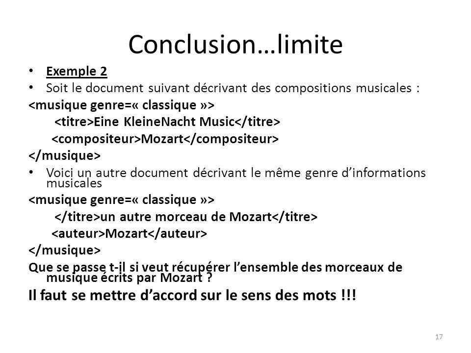Conclusion…limite Exemple 2 Soit le document suivant décrivant des compositions musicales : Eine KleineNacht Music Mozart Voici un autre document décr