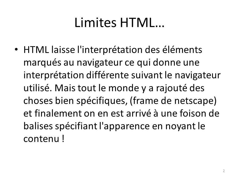 Limites HTML… HTML laisse l'interprétation des éléments marqués au navigateur ce qui donne une interprétation différente suivant le navigateur utilisé