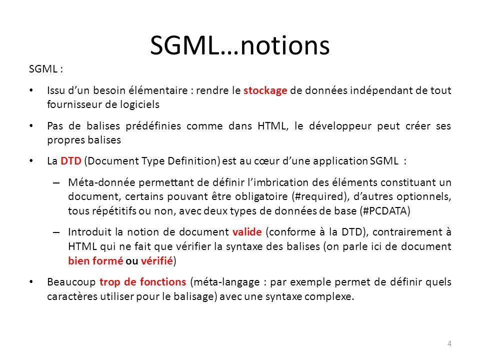 SGML…notions SGML : Issu dun besoin élémentaire : rendre le stockage de données indépendant de tout fournisseur de logiciels Pas de balises prédéfinie