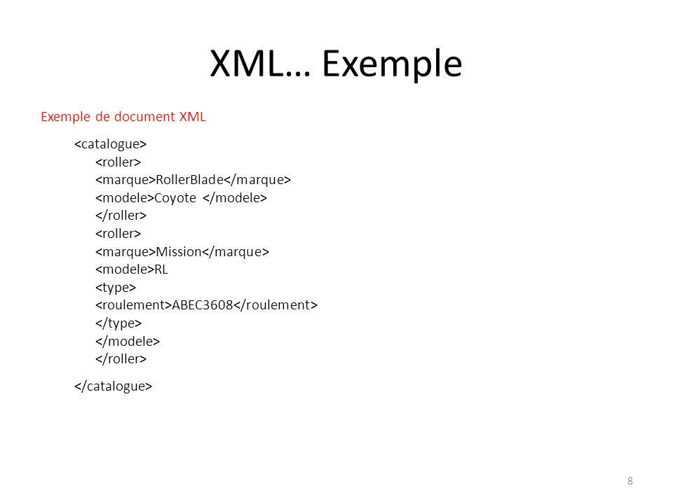 XML… Exemple Exemple de document XML RollerBlade Coyote Mission RL ABEC3608 8