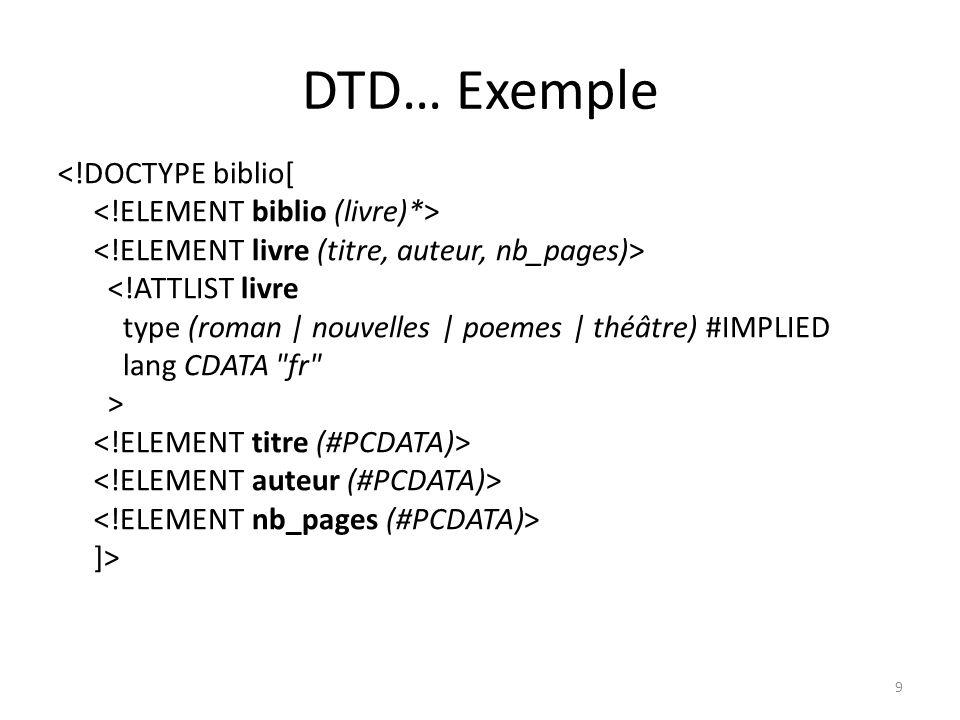 XML… Avantages Un document XML présente une structure logique, de type arborescent, semblable à la structure d un document HTML mais dénuée de toute information de présentation.