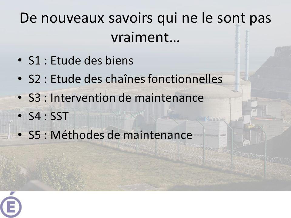 De nouveaux savoirs qui ne le sont pas vraiment… S1 : Etude des biens S2 : Etude des chaînes fonctionnelles S3 : Intervention de maintenance S4 : SST S5 : Méthodes de maintenance