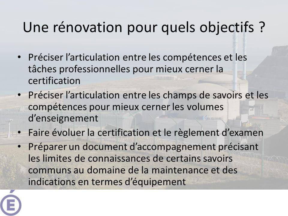 Une rénovation pour quels objectifs ? Préciser larticulation entre les compétences et les tâches professionnelles pour mieux cerner la certification P