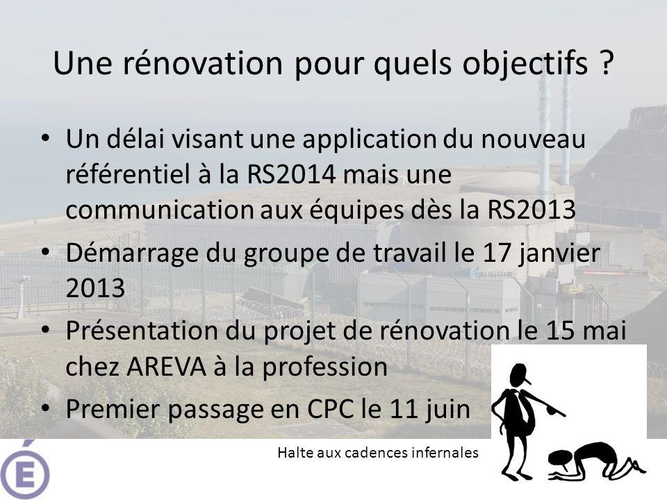 Une rénovation pour quels objectifs ? Un délai visant une application du nouveau référentiel à la RS2014 mais une communication aux équipes dès la RS2
