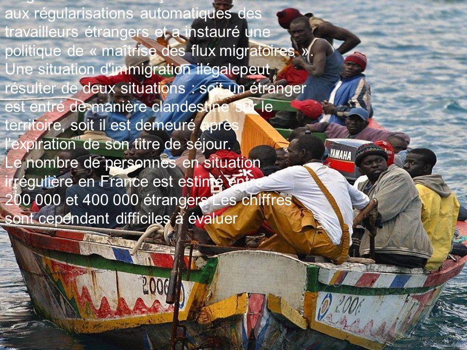Immigration illégale Le gouvernement français a mis fin en 1972 aux régularisations automatiques des travailleurs étrangers et a instauré une politique de « maîtrise des flux migratoires ».