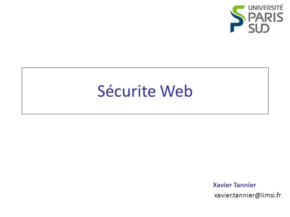 Programmation Web Accessibilité Xavier Tannier CRSF : solutions 12 <?php $token = md5(uniqid(rand(), TRUE)); $_SESSION[ token ] = $token; $_SESSION[ token_time ] = time(); ?> /> MemberId: <?php $token = md5(uniqid(rand(), TRUE)); $_SESSION[ token ] = $token; $_SESSION[ token_time ] = time(); ?> /> MemberId: <?php if ($_POST[ token ] == $_SESSION[ token ] && time() - $_SESSION[ token_time ] <= 300) { // Action valide } ?> <?php if ($_POST[ token ] == $_SESSION[ token ] && time() - $_SESSION[ token_time ] <= 300) { // Action valide } ?>