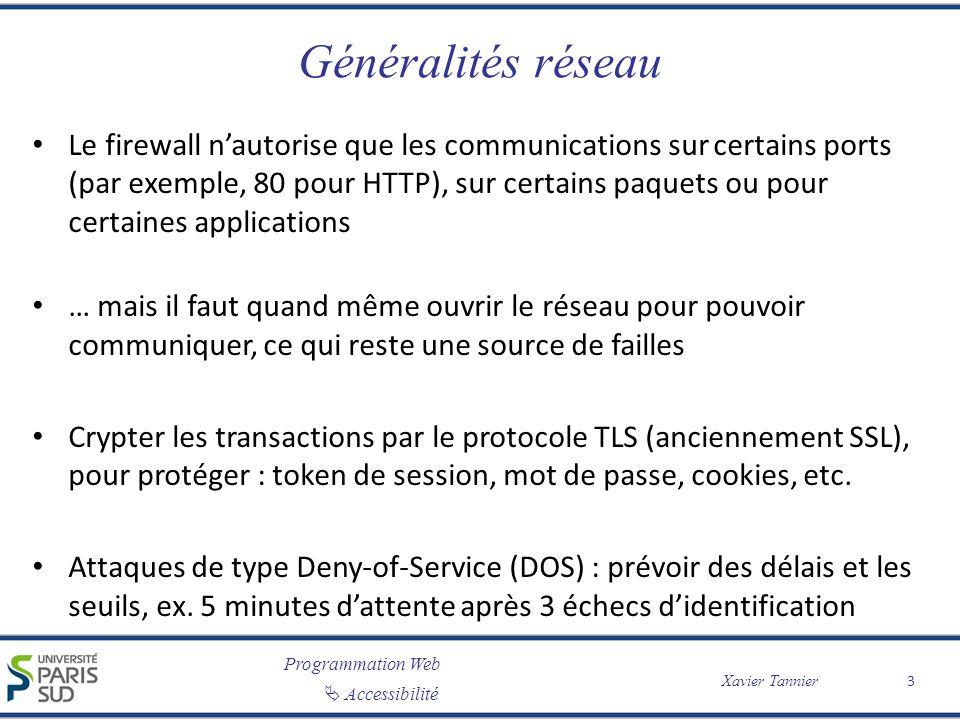 Programmation Web Accessibilité Xavier Tannier Sessions Le referer contient ladresse de provenance : un identifiant passé en GET par A peut être récupéré par B en allant dun site A vers un site B.