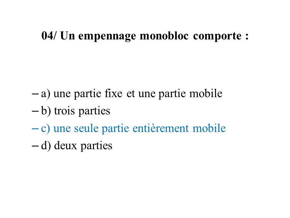 04/ Un empennage monobloc comporte : – a) une partie fixe et une partie mobile – b) trois parties – c) une seule partie entièrement mobile – d) deux p