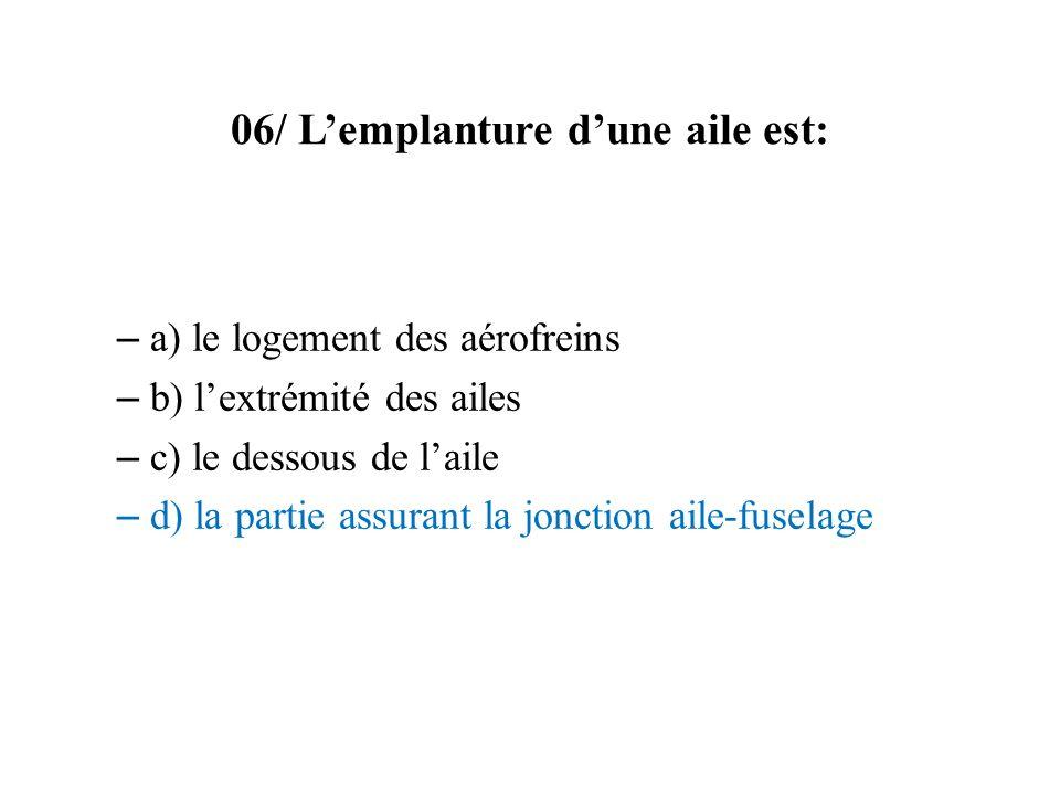 06/ Lemplanture dune aile est: – a) le logement des aérofreins – b) lextrémité des ailes – c) le dessous de laile – d) la partie assurant la jonction