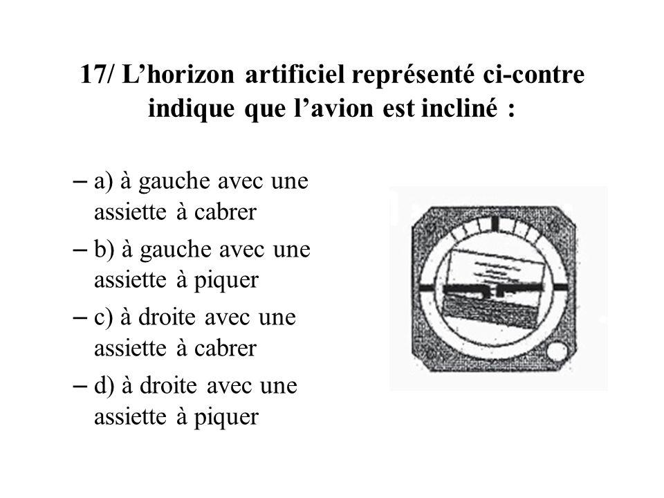 17/ Lhorizon artificiel représenté ci-contre indique que lavion est incliné : – a) à gauche avec une assiette à cabrer – b) à gauche avec une assiette à piquer – c) à droite avec une assiette à cabrer – d) à droite avec une assiette à piquer
