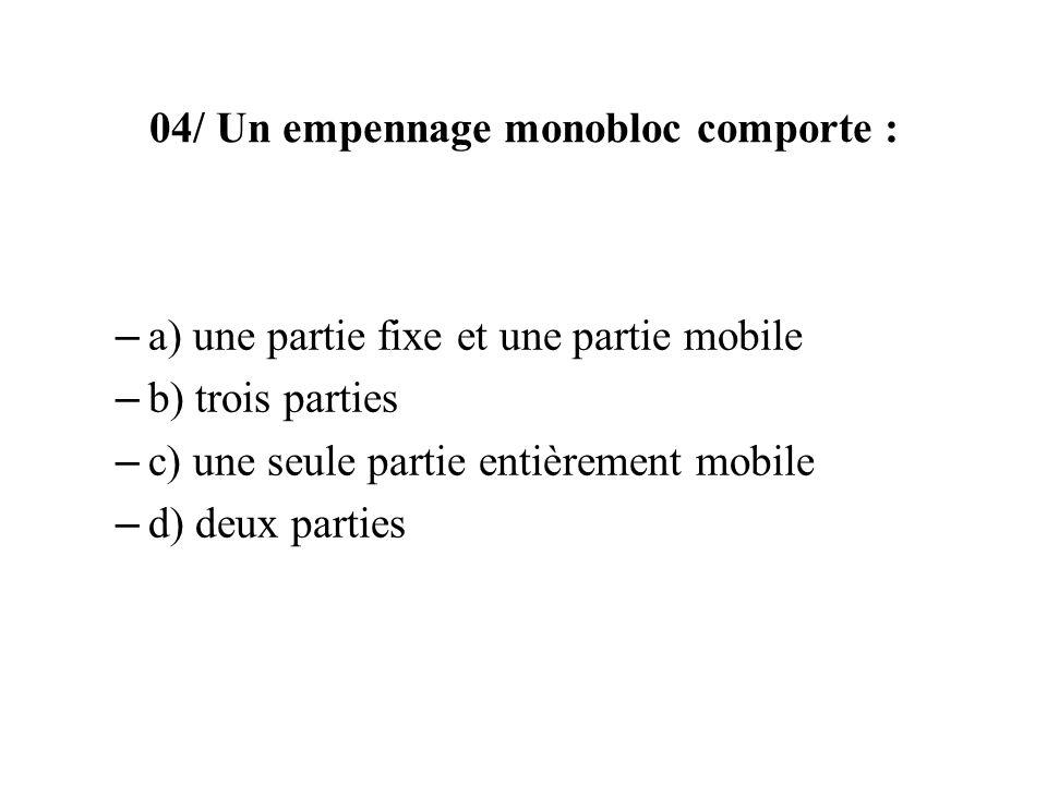 04/ Un empennage monobloc comporte : – a) une partie fixe et une partie mobile – b) trois parties – c) une seule partie entièrement mobile – d) deux parties