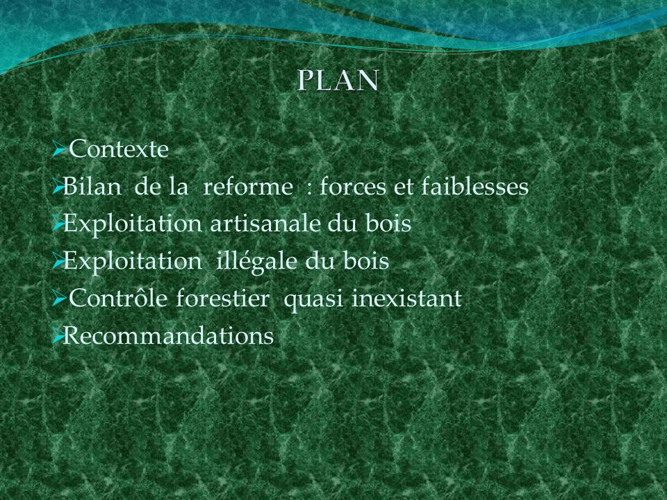 En marge des dix ans du Code Forestier (29 /08/2002 au 29/08/2012, sur demande du Fonds Mondial pour la Nature (WWF-RDC) le cabinet indépendant (TEREA) a réussi à analyser les forces et faibles de la reforme forestière en République Démocratique du Congo qui se traduit par : Le processus de conversion lui-même est un point positif, permis le tri dans les titres forestiers et les sociétés qui ne respectaient pas la loi (paiement de leurs taxes) ou qui ne travaillaient pas en forêt, La collaboration avec la société civile (CRON) pour la désignation des représentants des communautés locales et leur participation à la commission interministérielle.