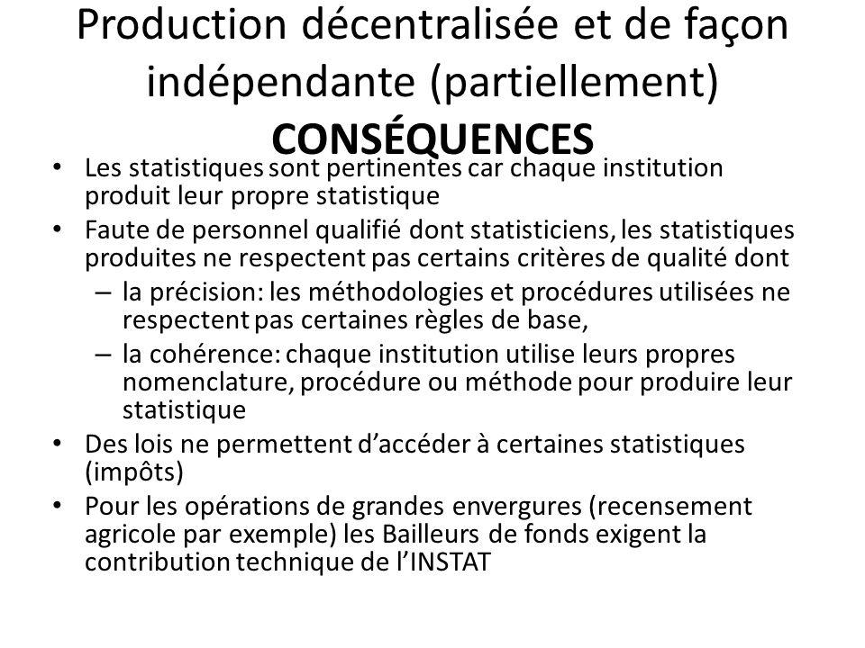 Production décentralisée et de façon indépendante (partiellement) CONSÉQUENCES Les statistiques sont pertinentes car chaque institution produit leur p
