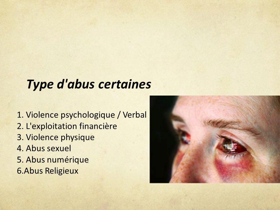 Type d'abus certaines 1. Violence psychologique / Verbal 2. L'exploitation financière 3. Violence physique 4. Abus sexuel 5. Abus numérique 6.Abus Rel