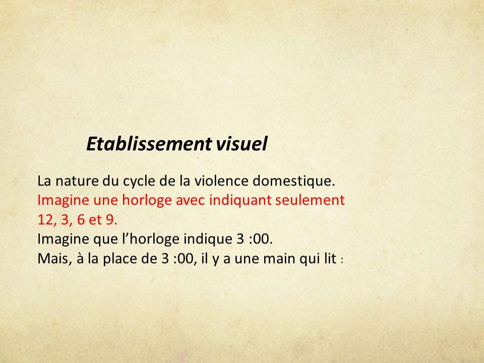 Etablissement visuel La nature du cycle de la violence domestique. Imagine une horloge avec indiquant seulement 12, 3, 6 et 9. Imagine que lhorloge in
