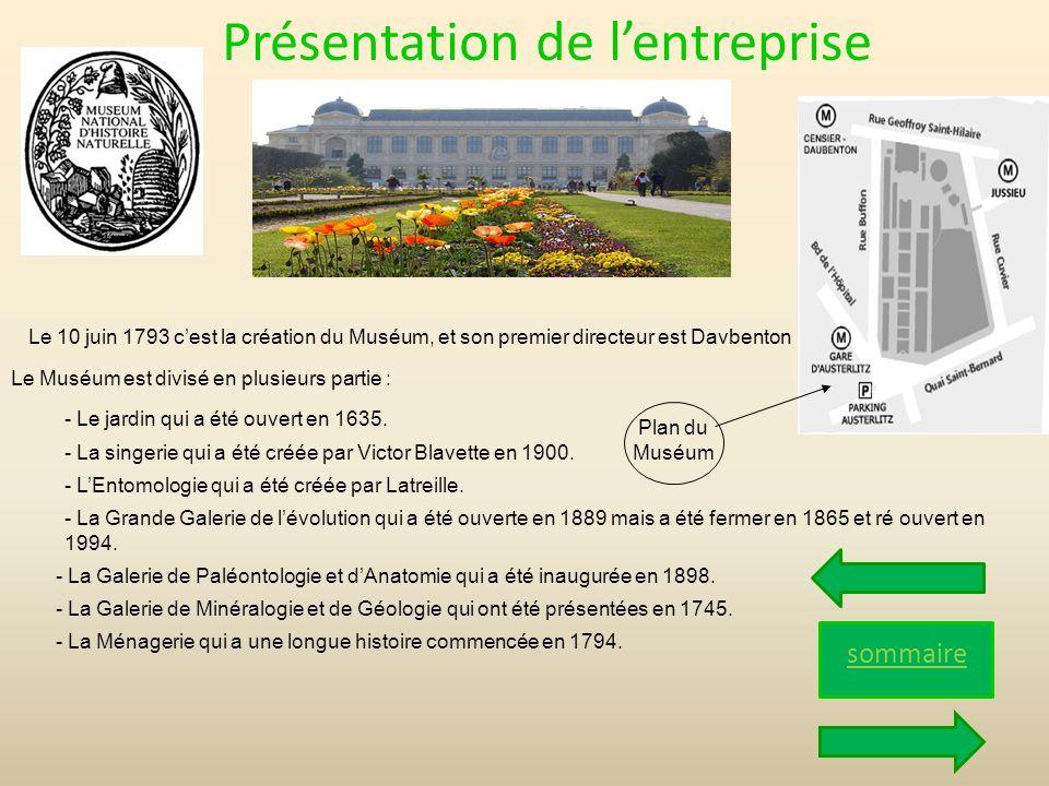 Présentation de lentreprise sommaire Le 10 juin 1793 cest la création du Muséum, et son premier directeur est Davbenton Le Muséum est divisé en plusie