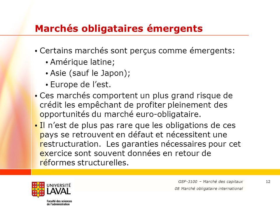 www.ulaval.ca 12 Marchés obligataires émergents Certains marchés sont perçus comme émergents: Amérique latine; Asie (sauf le Japon); Europe de lest.
