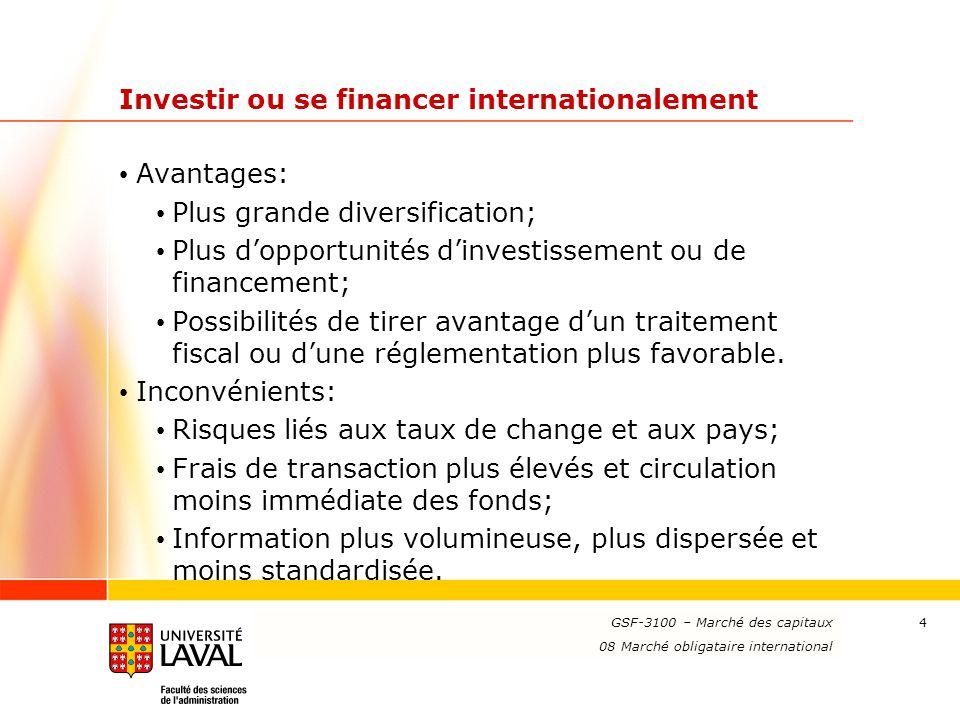 www.ulaval.ca 4 Investir ou se financer internationalement Avantages: Plus grande diversification; Plus dopportunités dinvestissement ou de financement; Possibilités de tirer avantage dun traitement fiscal ou dune réglementation plus favorable.