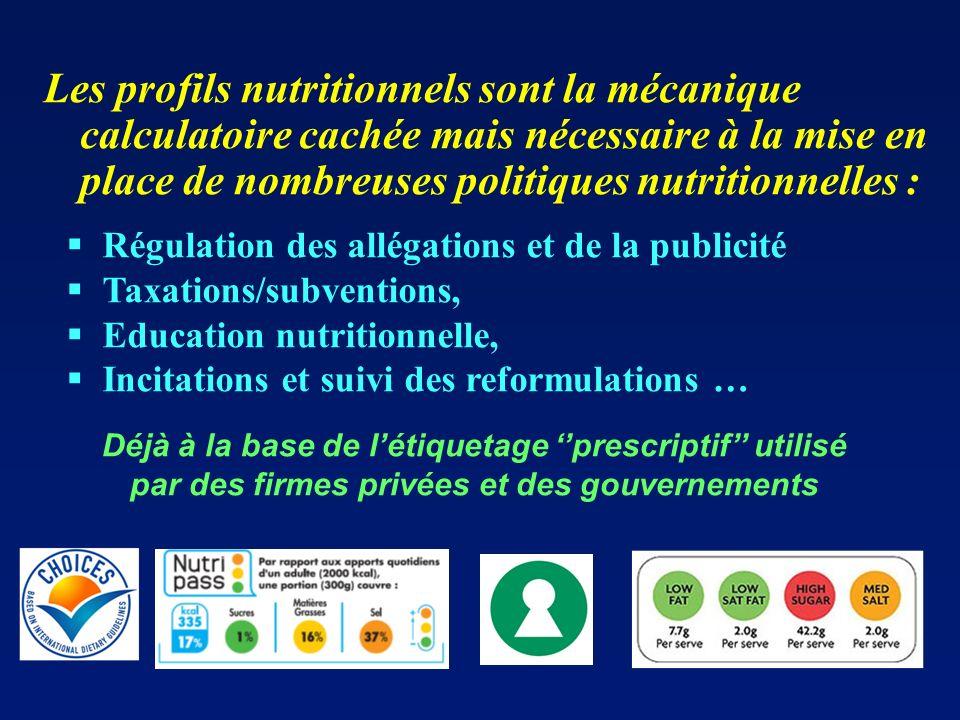 Déjà à la base de létiquetage prescriptif utilisé par des firmes privées et des gouvernements Les profils nutritionnels sont la mécanique calculatoire