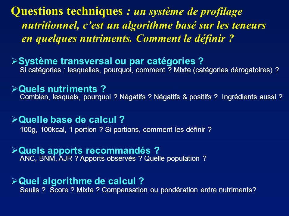 Questions techniques : un système de profilage nutritionnel, cest un algorithme basé sur les teneurs en quelques nutriments. Comment le définir ? Syst