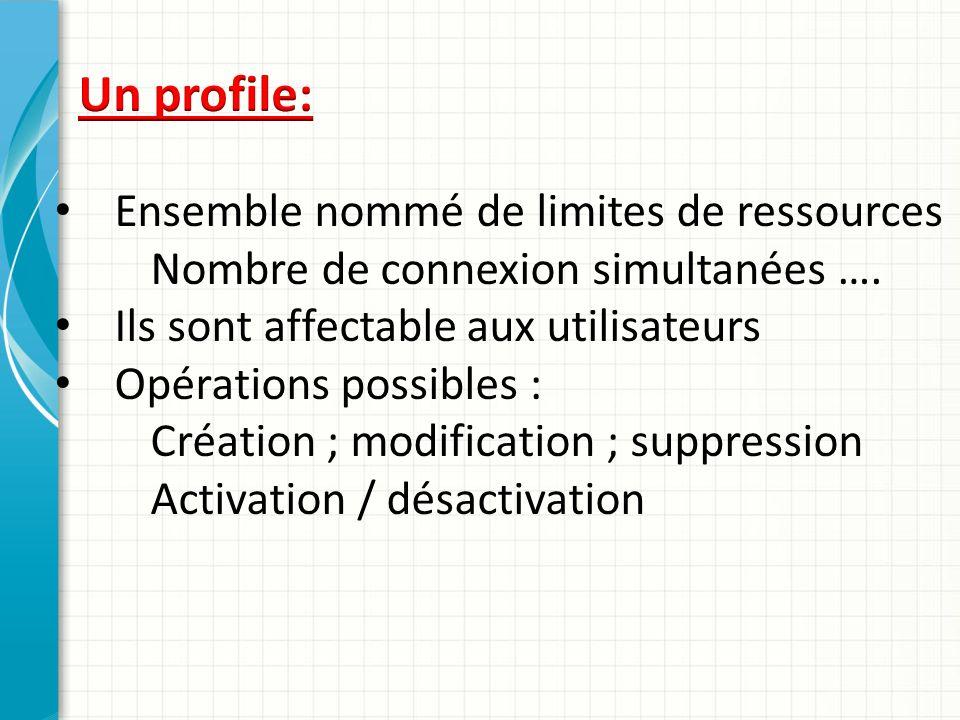 Ensemble nommé de limites de ressources Nombre de connexion simultanées …. Ils sont affectable aux utilisateurs Opérations possibles : Création ; modi