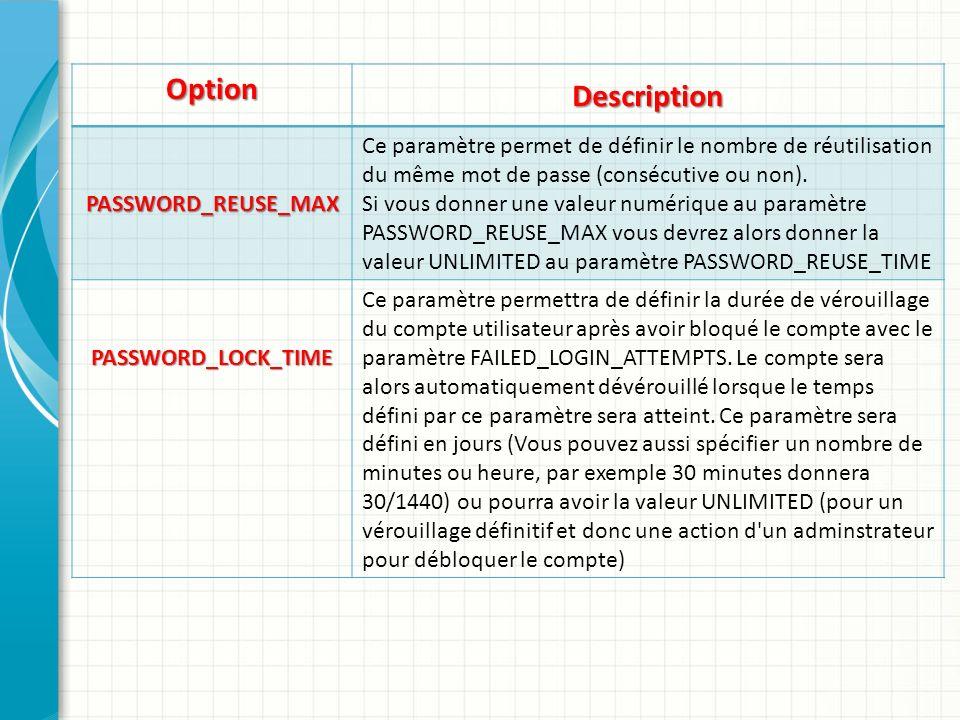 Option Description PASSWORD_REUSE_MAX Ce paramètre permet de définir le nombre de réutilisation du même mot de passe (consécutive ou non). Si vous don