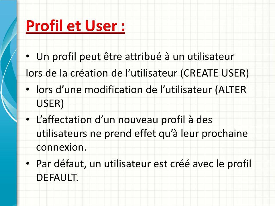 Un profil peut être attribué à un utilisateur lors de la création de lutilisateur (CREATE USER) lors dune modification de lutilisateur (ALTER USER) La