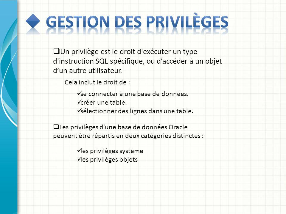 Un privilège est le droit d'exécuter un type d'instruction SQL spécifique, ou daccéder à un objet dun autre utilisateur. Cela inclut le droit de : se