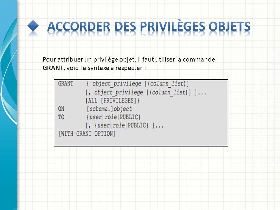Pour attribuer un privilège objet, il faut utiliser la commande GRANT, voici la syntaxe à respecter :