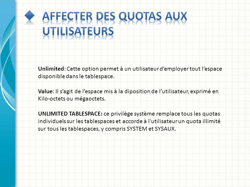 Unlimited: Cette option permet à un utilisateur demployer tout lespace disponible dans le tablespace. Value: Il sagit de lespace mis à la diposition d