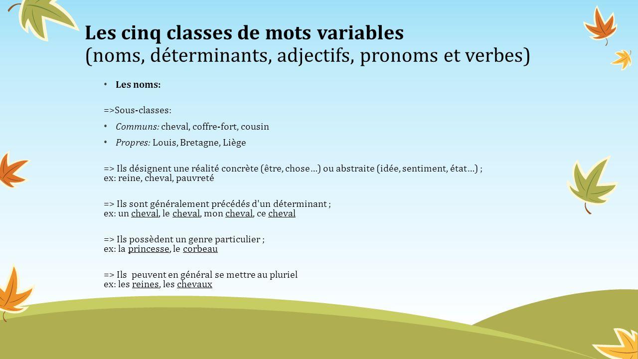 Les cinq classes de mots variables (noms, déterminants, adjectifs, pronoms et verbes) Les determinants: =>Sous-classes: Articles définis: le, la, l, les / du, des, au,aux Articles indéfinis: un, une, des (de) Articles partitifs: du, de la, des Démonstratifs: ce,cet, cette, ces, ce...-ci, ce...-là,cette...-ci, cette...- là, ces...-ci, ces...-là Possessifs: mon, ton, son, ma, ta, sa, mes, tes, ses, notre, votre, leur, nos, vos, leurs Indéfinis: aucun, certains, chaque, divers, nul, plusieurs, quelques, tout Numéraux cardinaux: deux, trois,...