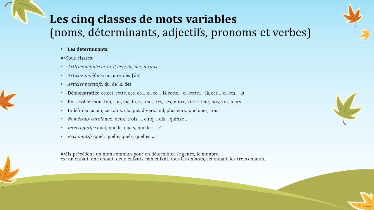 Les cinq classes de mots variables (noms, déterminants, adjectifs, pronoms et verbes) Les determinants: =>Sous-classes: Articles définis: le, la, l, l