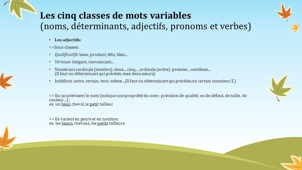 Les cinq classes de mots variables (noms, déterminants, adjectifs, pronoms et verbes) Les pronoms: =>Sous-classes: Personnels: je, tu, il, elle, nous, vous, ils, elles, me, te, se, moi, toi, soi, eux, le, la, l, lui, les, leur, en, y.