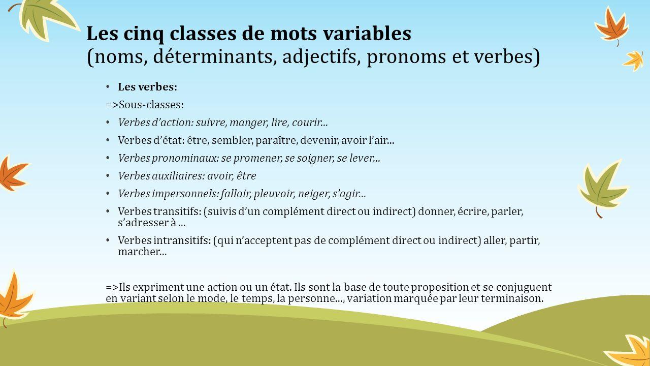 Les cinq classes de mots variables (noms, déterminants, adjectifs, pronoms et verbes) Les verbes: =>Sous-classes: Verbes daction: suivre, manger, lire